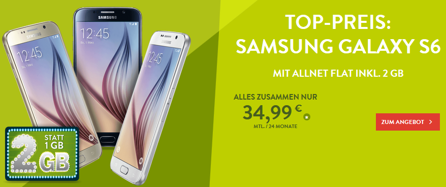 BASE Samsung Galaxy S6 Handyvertrag DEAL